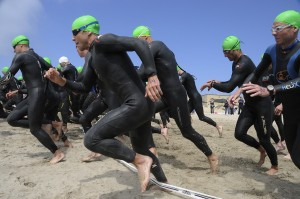 Photo of the start of a triathlon