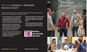 Northumbria University postgraduate prospectus - Business page