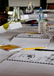 Writing training workshop table