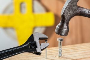 spanner, hammer, nail and screw