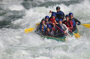 people rafting on a river