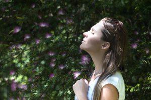 Girl breathing