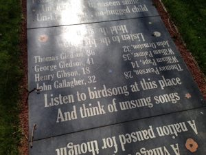 words at the Hartley Pit memorial
